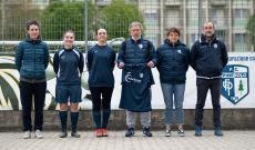 I nuovi acquisti con la DS Monica Magnarini, il tecnico Vincenzo Chiarenza e il resp Maurizio Rosso (foto Fb Pinerolo Calcio Official - Lavinia Quagliotti)