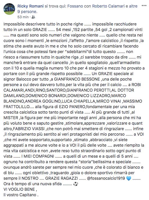 Post Riccardo Romani Fossano che saluta il Fossano