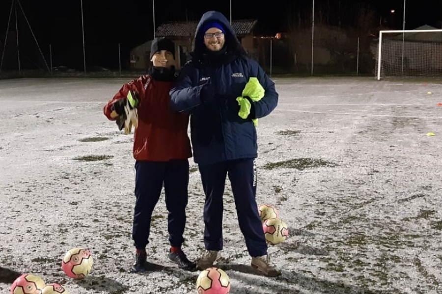 Andrea Zaccaria durante un allenamento invernale