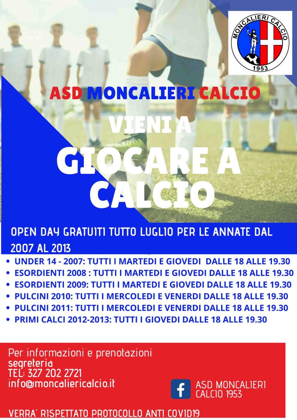 Moncalieri Calcio: le date degli Open-Day