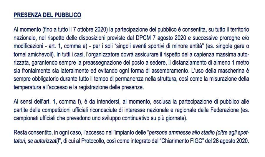 Protocollo Figc - Le regole per l'accesso del pubblico