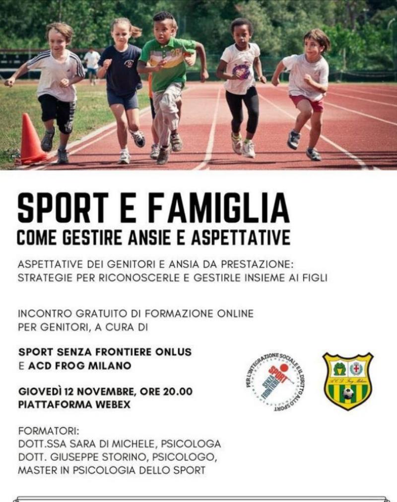 La locandina dell'evento targato Frog Milano con la partecipazione di Sport Senza Frontiere Onlus.
