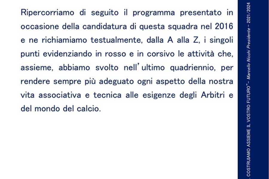 Il programma del candidato presidente uscente Aia, Marcello Nicchi